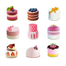 Cakes Icons Set, Appetizing Cakes, Cakes Set On White Background
