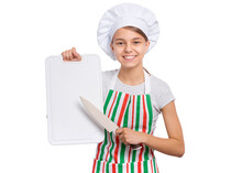 Cute Girl In Chef Uniform Isolated On White Background Showing Menu Blackboard