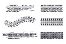 Tire Track Black Silhouettes Vector Set Isolated On A White Background.
