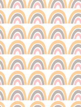 Cute Hand Drawn Irregular Rainbows Vector Patterns. Simple Abstract Rainbows Isolated On A White Background. Funny Infantile Style Boho Print Ideal For Fabric, Textile.
