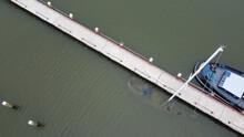 Overhead Shot Of A Sunken Sailboat In The Almere Netherlands