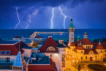 Thunder Storm Over The Baltic Sea In Sopot, Poland