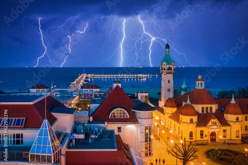 Billede på lærred Thunder storm over the Baltic Sea in Sopot, Poland