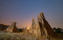 Lalu With Stars At Night, Srakaew, Thailand. Dry Rock Reef. Nature Landscape Background. Grand Canyon Of Thailand. Tourist Attraction Landmark For Travel In Holiday Vacation.