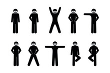 Stickman Isolated Pictograms, Masked Man, Stick Figure, Set Of Silhouettes Of People In Various Poses