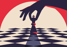 Banner Template With Hand Holding Chess Piece. Strategy Concept Art In Flat Design.