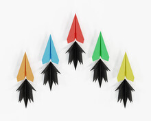 Paper Plane In One Direction On White Background. Business Concept For New Ideas Creativity. Paper Art Style, 3d Illustration.