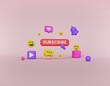 trendy Social media icons design for advertising, promotion, marketing. 3d rendering
