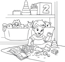 A Child Plays With Toys In The Nursery. Vector Black White Illustration