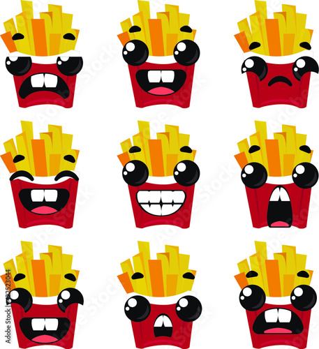 Set of french fries with different emotions. Vector illustration in cartoon childish style.