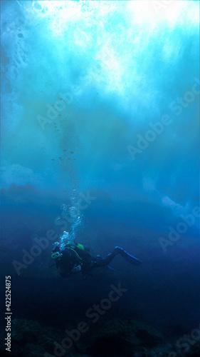 Fényképezés Scuba diving under the big waves