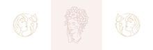Magic Nymphs Tender Female Enchantresses In Boho Linear Style Vector Illustrations Set.