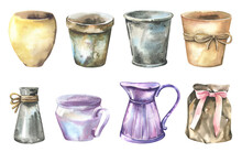 Watercolor Illustration - Garden Pots Collection For Wedding Stationary, Greetings, Wallpapers, Background. Roses, Green Leaves. . High Quality Illustration