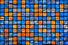 Orange-blue Background From Many Small Squares. Modern Art.