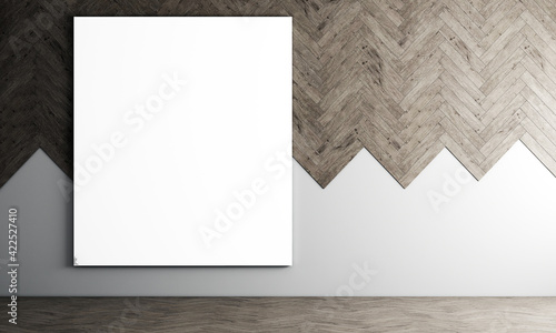 Modern decoration canvas frame mock up interior design of living room and wooden wall pattern background, 3D rendering