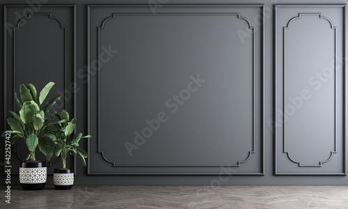 Fototapeta Modern decoration mock up interior design of empty living room and dark grey wall pattern background, 3D rendering obraz