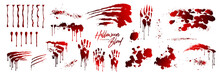 Blood Collection, Happy Halloween Decoration, Vector Bloody Horror Drop, Drip, Splatter, Creepy Splash, Spot. Realistic Blood On Transparent Background, Isolated.