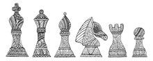 Set With King, Queen, Bishop, Knight, Rook And Pawn Chess Pieces Coloring Page For Adults And Kids, Isolated On White.