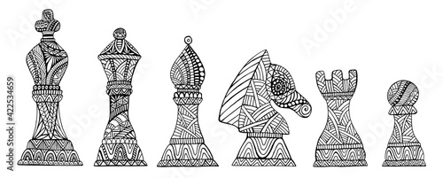 Fotografiet Set with King, Queen, Bishop, Knight, Rook and Pawn Chess Pieces coloring page for adults and kids, isolated on white