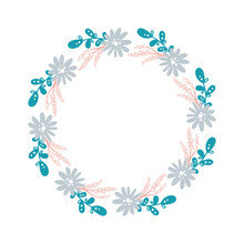 Summer Flower Herb Wreath Scandinavian. Spring Flat Abstract Vector Garden Frame, Woman Day Romantic Holiday, Wedding Invitation Card Decoration. Element Summer Floral Isolated Illustration