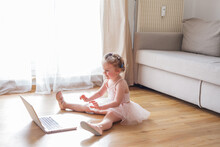Online Classes. The Little Girl Is Engaged In Ballet. Dancing.