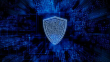 Security Technology Concept With Shield Symbol Against A Futuristic, Blue Digital Grid Background. Network Tech Wallpaper. 3D Render