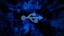 Interface Technology Concept With Usb Symbol Against A Futuristic, Blue Digital Grid Background. Network Tech Wallpaper. 3D Render