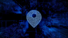 Location Technology Concept With Map Pin Symbol Against A Futuristic, Blue Digital Grid Background. Network Tech Wallpaper. 3D Render