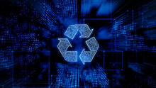 Eco Technology Concept With Recycle Symbol Against A Futuristic, Blue Digital Grid Background. Network Tech Wallpaper. 3D Render