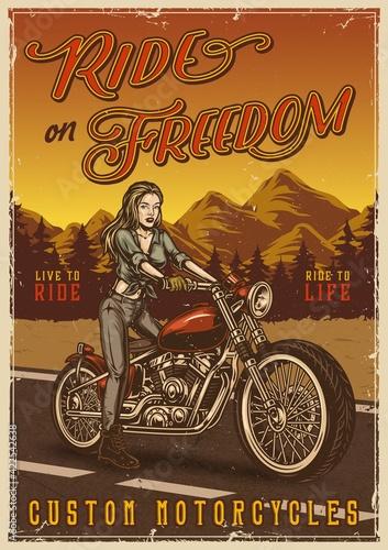 Custom motorcycle vintage colorful poster