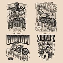 Custom Motorcycle Vintage Monochrome Designs
