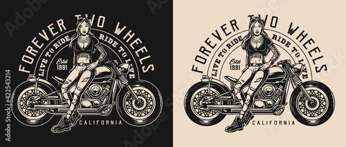 Motorcycle vintage monochrome logo