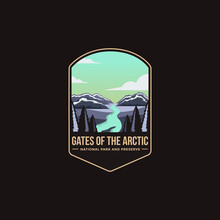 Emblem Patch Logo Illustration Of Gates Of The Arctic National Park And Preserve National Park On Dark Background