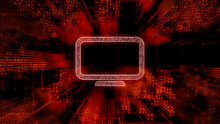 Display Technology Concept With Monitor Symbol Against A Futuristic, Orange Digital Grid Background. Network Tech Wallpaper. 3D Render