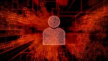 Social Technology Concept With User Symbol Against A Futuristic, Orange Digital Grid Background. Network Tech Wallpaper. 3D Render