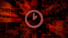 Time Technology Concept With Clock Symbol Against A Futuristic, Orange Digital Grid Background. Network Tech Wallpaper. 3D Render