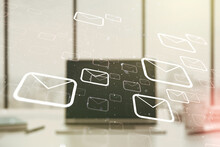Double Exposure Of Postal Envelopes Hologram On Laptop Background. Electronic Mail And Spam Concept