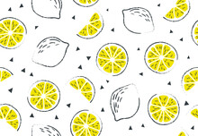 Fresh, Tropical Fruits, Lemon. Seamless Fruit Background For Banners, Printing On Fabric, Labels, Printing On T-shirts. Children's Drawing In Cartoon Style, Black Outline, Pen, Pencil-01