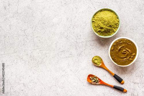 Fototapeta Henna powder and henna paste for herbal natural hair dye
