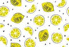 Fresh, Tropical Fruits, Lemon. Seamless Fruit Background For Banners, Printing On Fabric, Labels, Printing On T-shirts. Children's Drawing In Cartoon Style, Black Outline, Pen, Pencil-02
