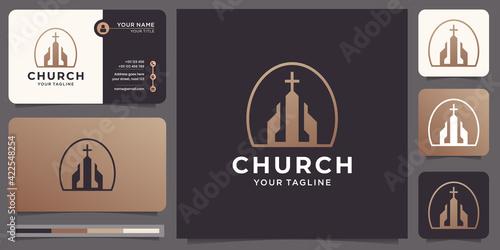 Fototapeta Christian Church Jesus Cross Gospel logo design with business card inspiration.premium vector obraz