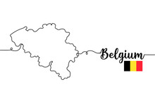 Continuous One Line Of Map Of Belgium. Minimal Style. Perfect For Cards, Party Invitations, Posters, Stickers, Clothing.
