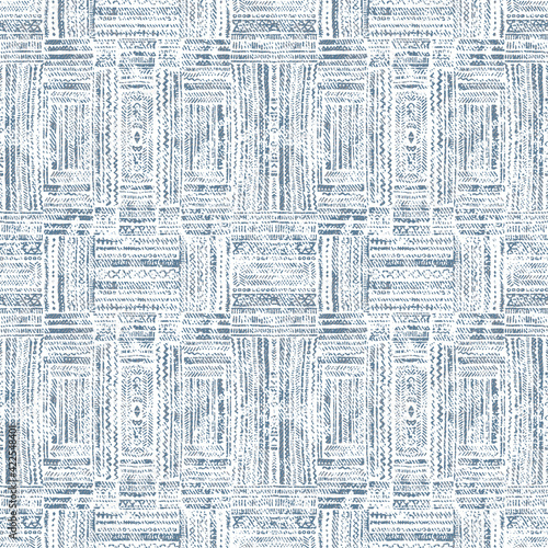 Fototapeta Geometric repeat pattern with distressed texture and color
