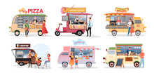 Street Market Food Truck, Outdoor Cafe Vector Illustration Set. Cartoon Foodtruck With Menu Pizza Asian Food Burger Ice Cream Hot Dog Fastfood Eating, Coffee Drink, Catering Service Isolated On White.