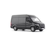 Transport Black Van Car On White Background With Clipping Path