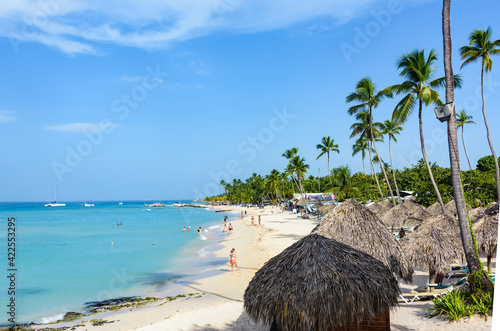 Fototapeta  Caribbean beach sun lounger obraz