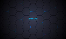 Dark Gray Hexagonal Technology Vector Abstract Background. Blue Bright Energy Flashes Under Hexagon In Modern Technology Futuristic Background Vector Illustration. Dark Gray Honeycomb Texture Grid.