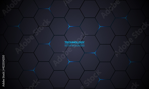 Fototapeta Dark gray hexagonal technology vector abstract background. Blue bright energy flashes under hexagon in modern technology futuristic background vector illustration. Dark gray honeycomb texture grid. obraz