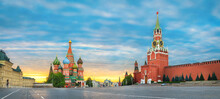 Moscow, Russia. Sunrise Over Red Square And Saint Basil Cathedral