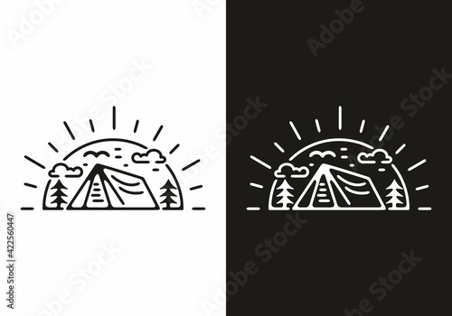 Black and white sun and tent line art illustration